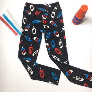 LuLaRoe Patriotic Popsicle Leggings, sz OS